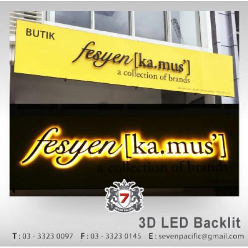 3D LED Backlit Butik Sign