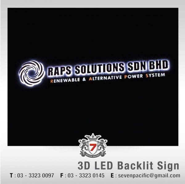 3D LED Backlit Sign