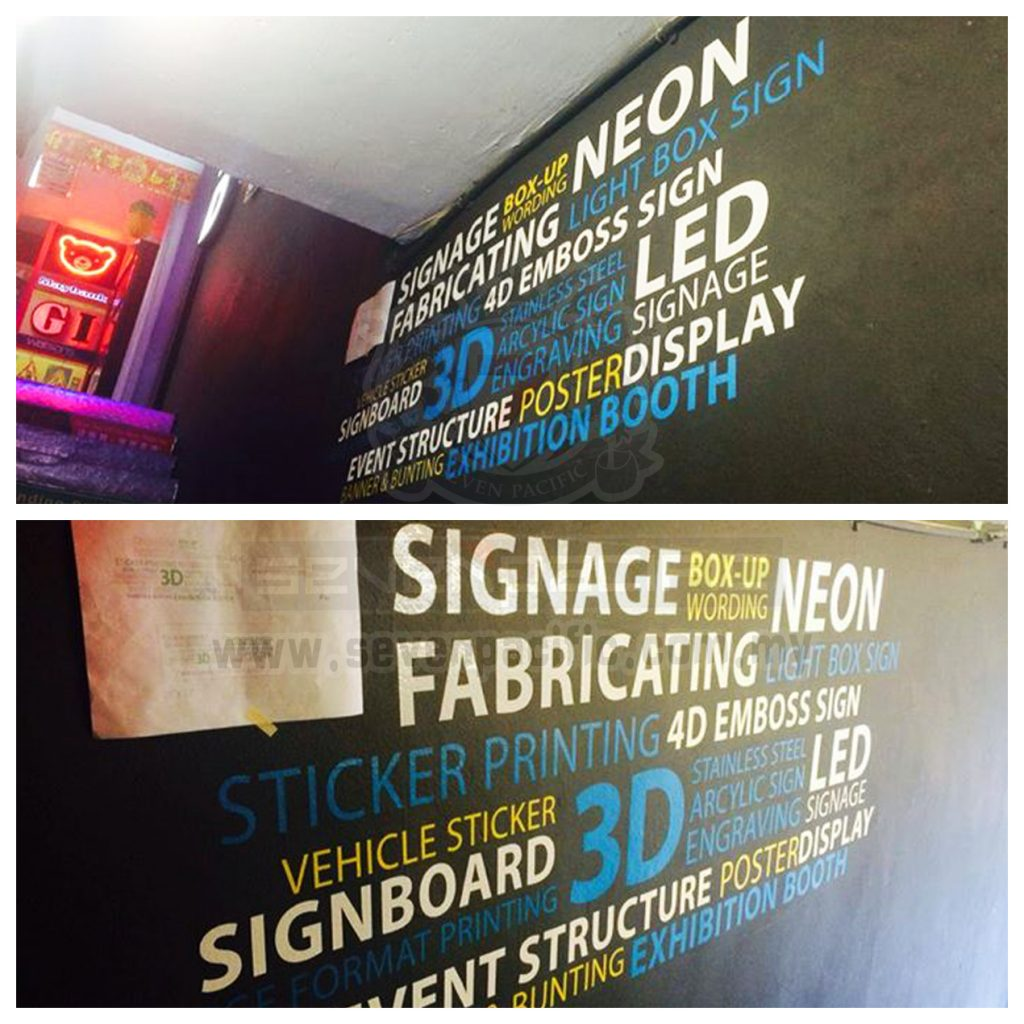 Sticker cut out lettering display